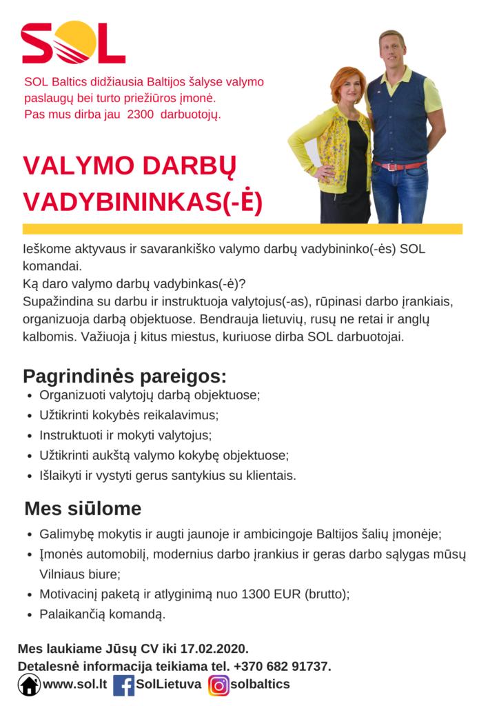 VALYMO DARBŲ VADYBININKAS(-Ė)